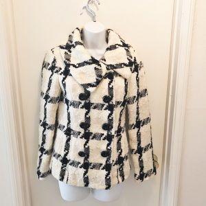 WHBM Wool Mohair Blend Checker Plaid Coat XS